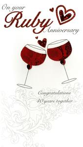 On Your Ruby 40th Anniversary Luxury Champagne Greeting Card