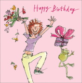 Quentin Blake Leaping Happy Birthday Greeting Card
