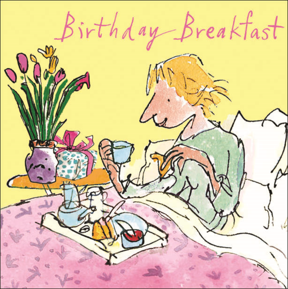 Quentin Blake On Breakfast In Bed Happy Birthday Greeting Card