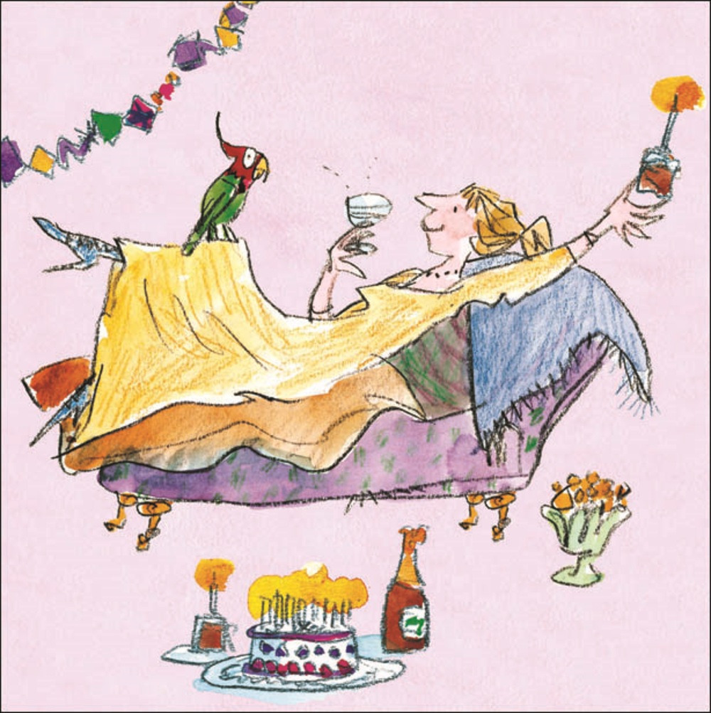 Quentin Blake As A Parrot Happy Birthday Greeting Card