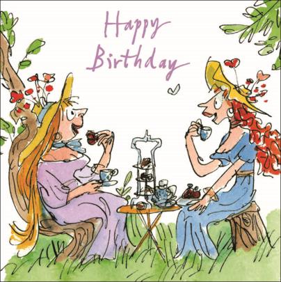 Quentin Blake High Tea Happy Birthday Greeting Card