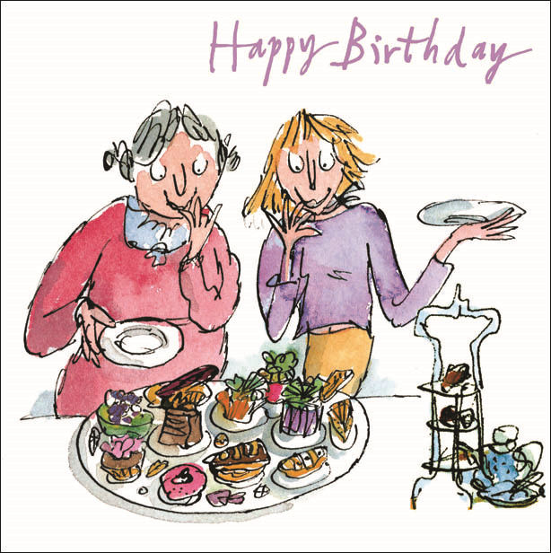 Quentin Blake Party Buffet Happy Birthday Greeting Card