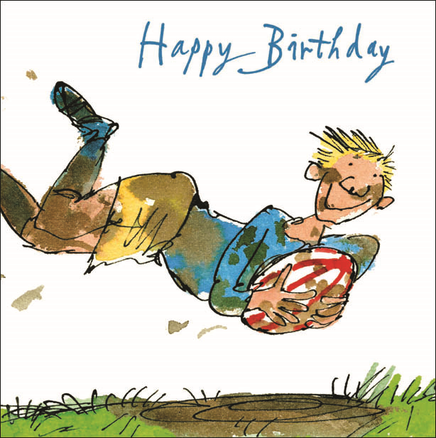 Célèbre Quentin Blake Rugby Happy Birthday Greeting Card Square Humour  RB49