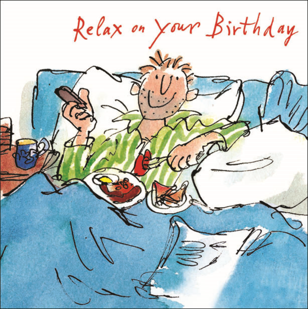 Quentin Blake Breakfast In Bed Happy Birthday Greeting Card