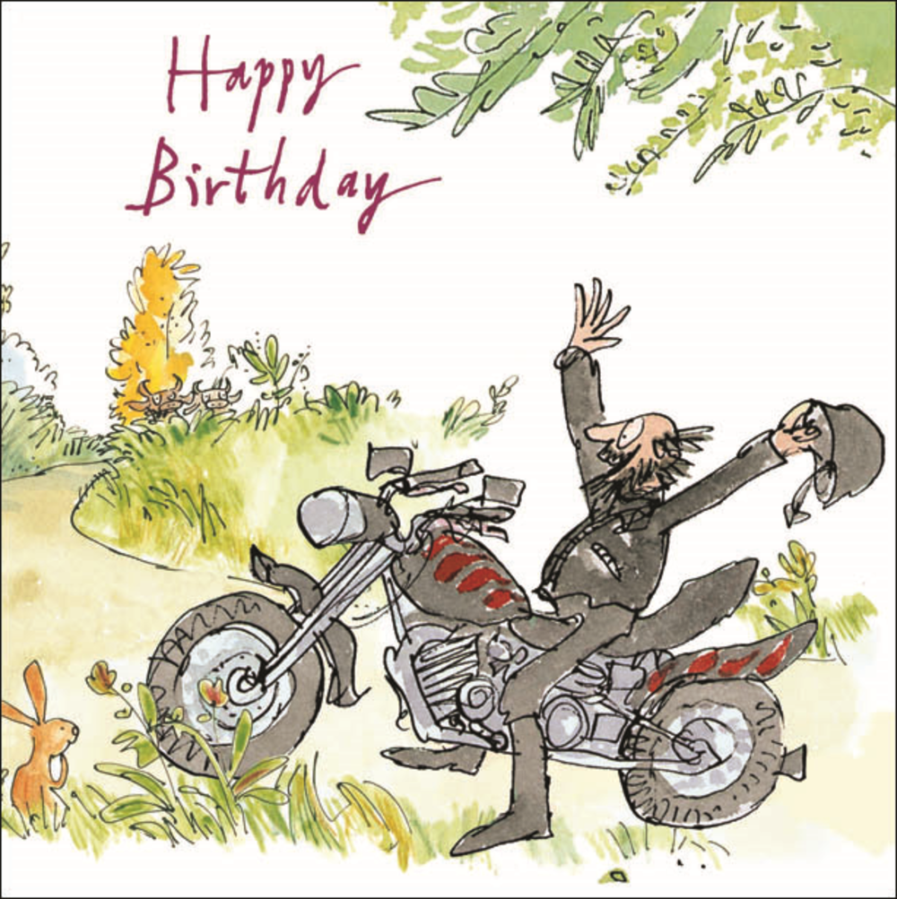 Quentin Blake Motorbiker Happy Birthday Greeting Card