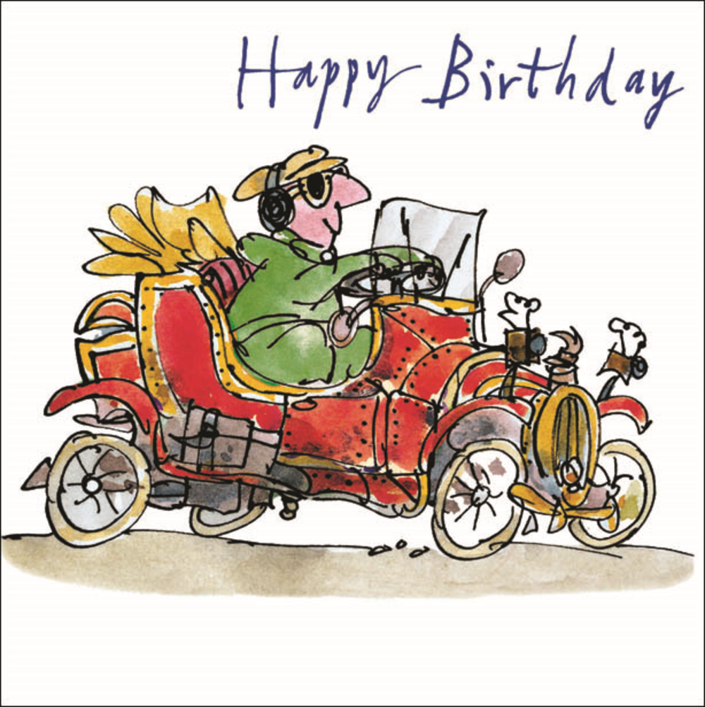 Quentin Blake Classic Car Happy Birthday Greeting Card