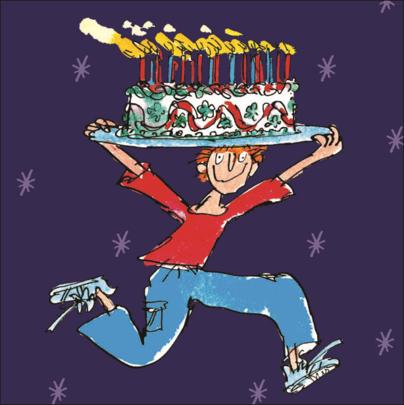 Quentin Blake Big Cake Happy Birthday Greeting Card