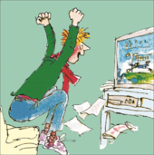Quentin Blake Footie Fan Happy Birthday Greeting Card