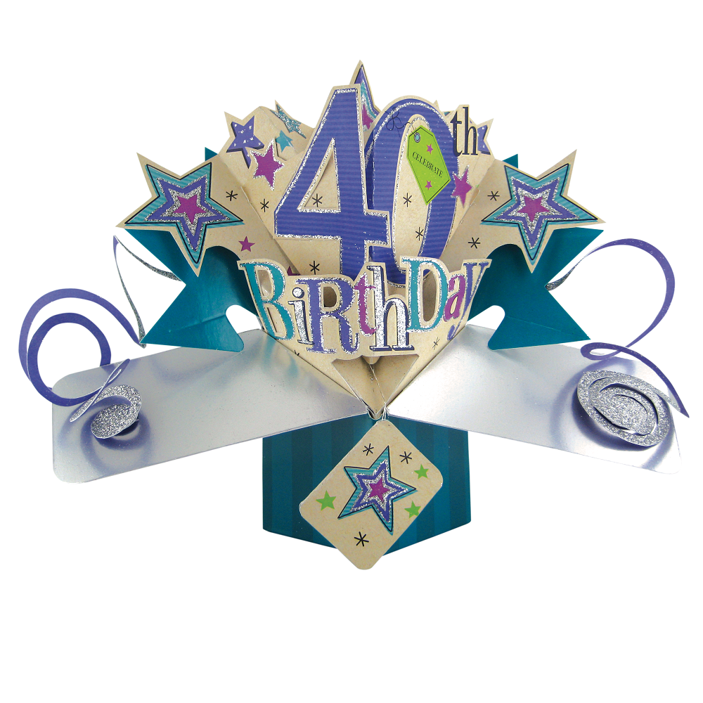 40th Birthday Pop-Up Greeting Card Original Second Nature 3D Pop Up Cards