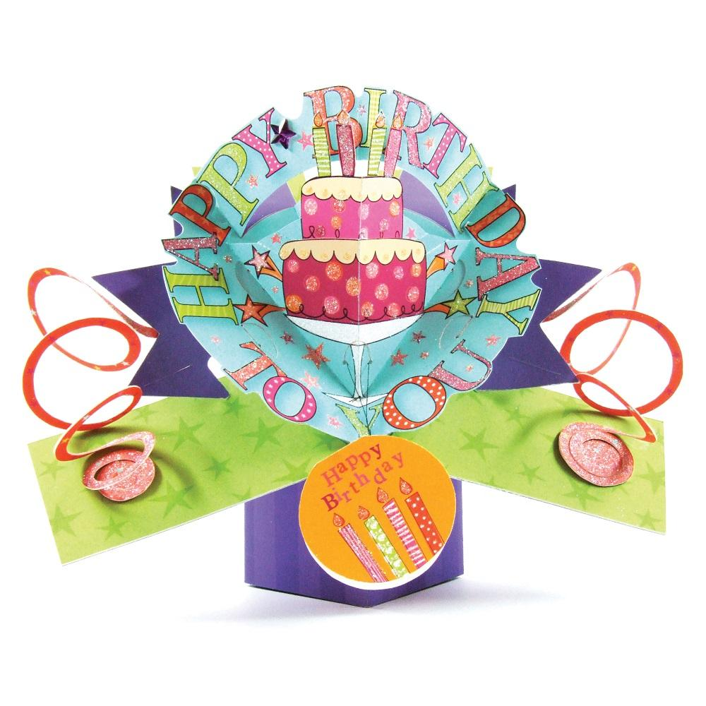 Happy Birthday Cake Pop-Up Greeting Card