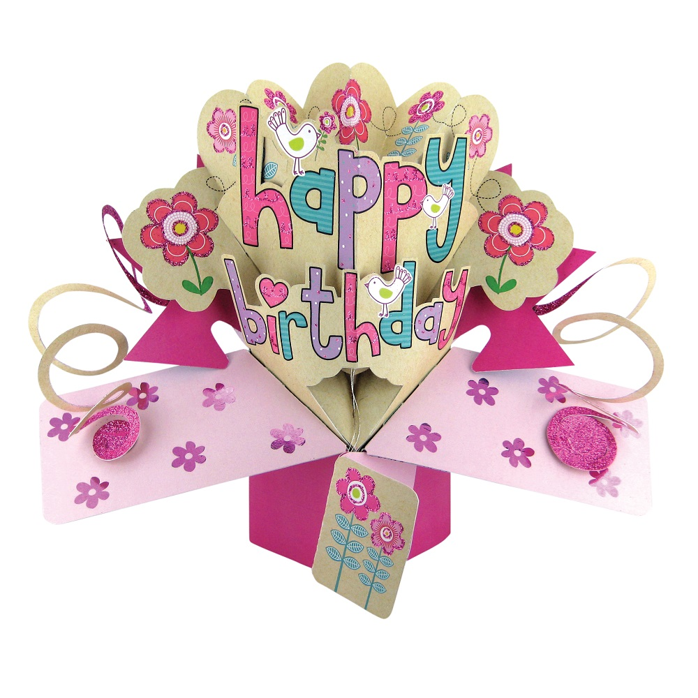 happy birthday female pop up greeting card cards love
