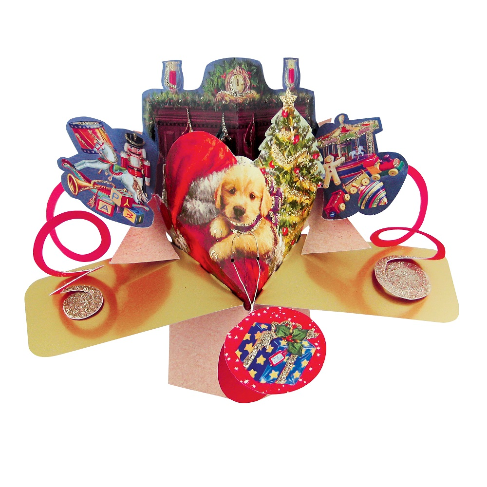 Cute Puppy Christmas Pop-Up Greeting Card