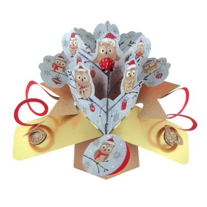 Owls Christmas Tree Pop-Up Greeting Card