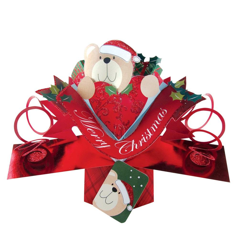 Bear Petite Merry Christmas Pop-Up Greeting Card