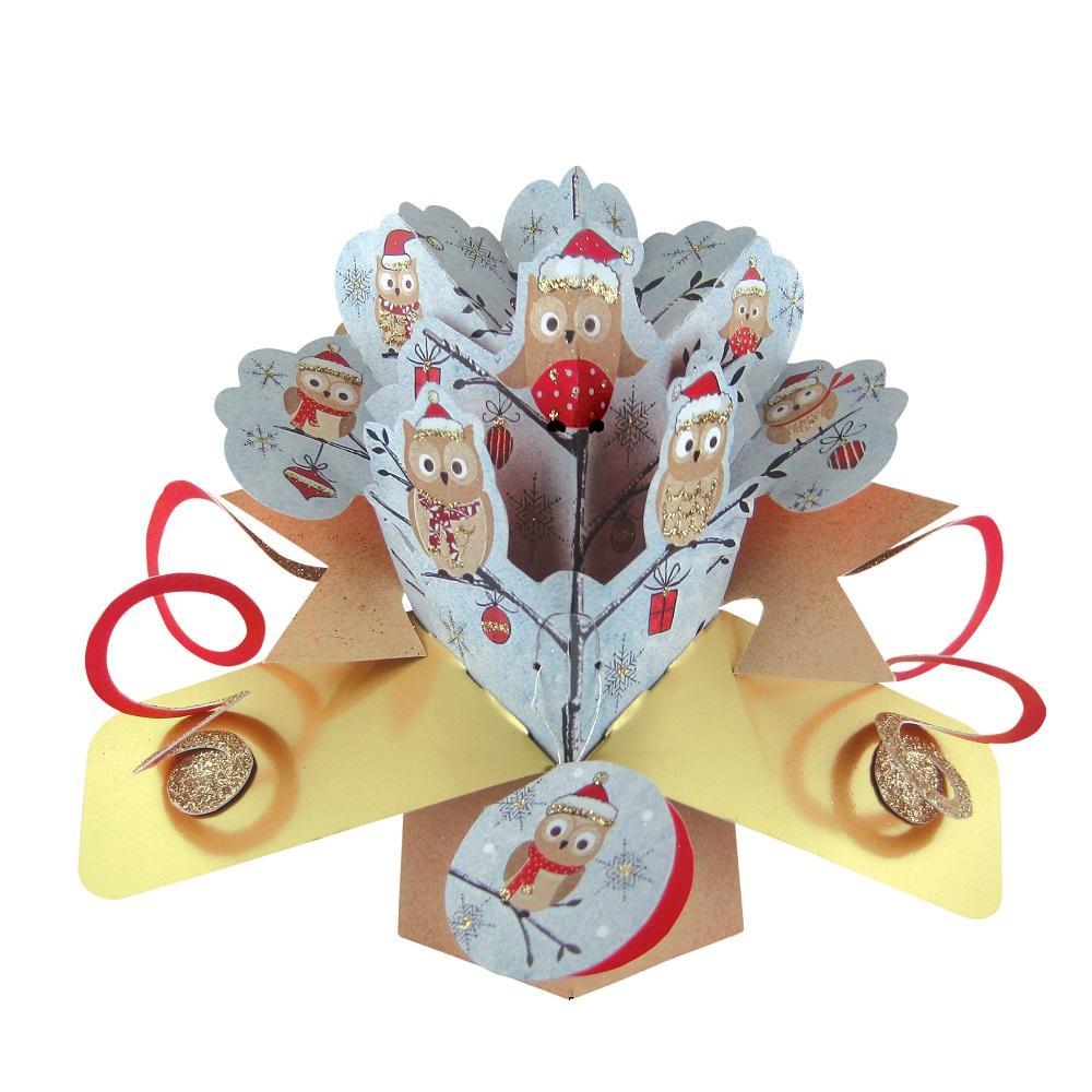 Jolly Owls Petite Christmas Pop-Up Greeting Card