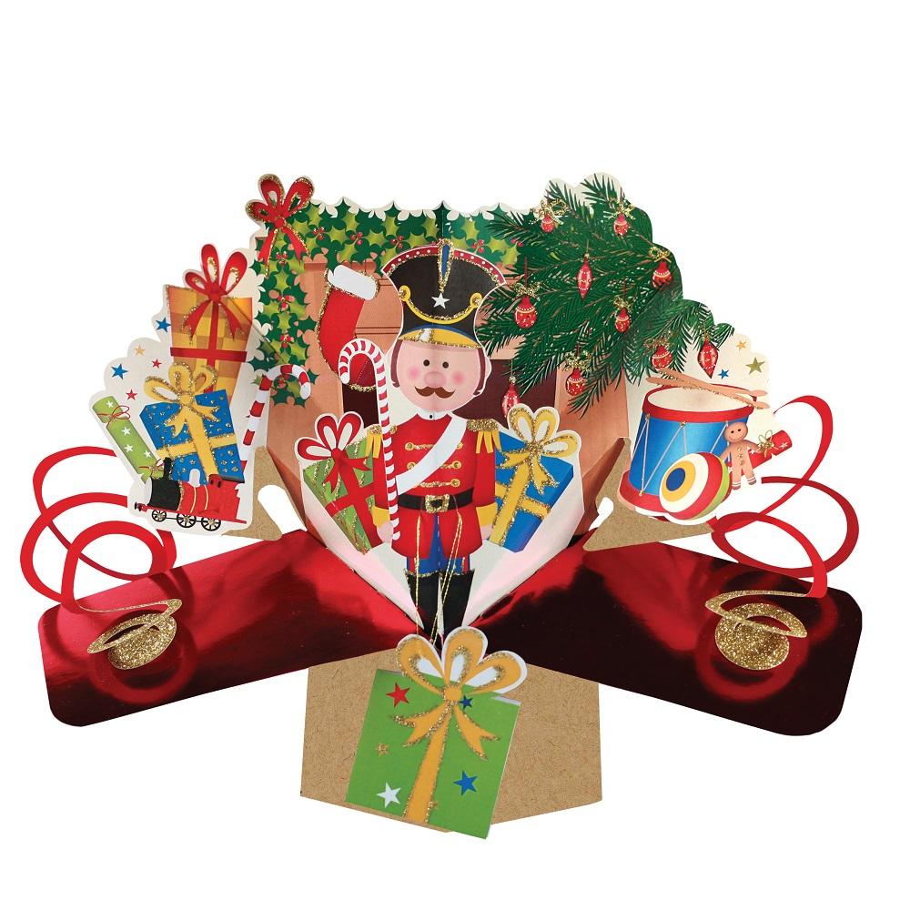 Santa /& Dog Petite Christmas Pop-Up Greeting Card Second Nature 3D Pop Up Cards