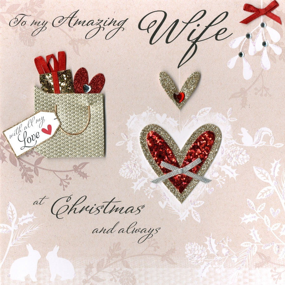 Boxed Amazing Wife Special Luxury Handmade 3d Christmas Card Xmas