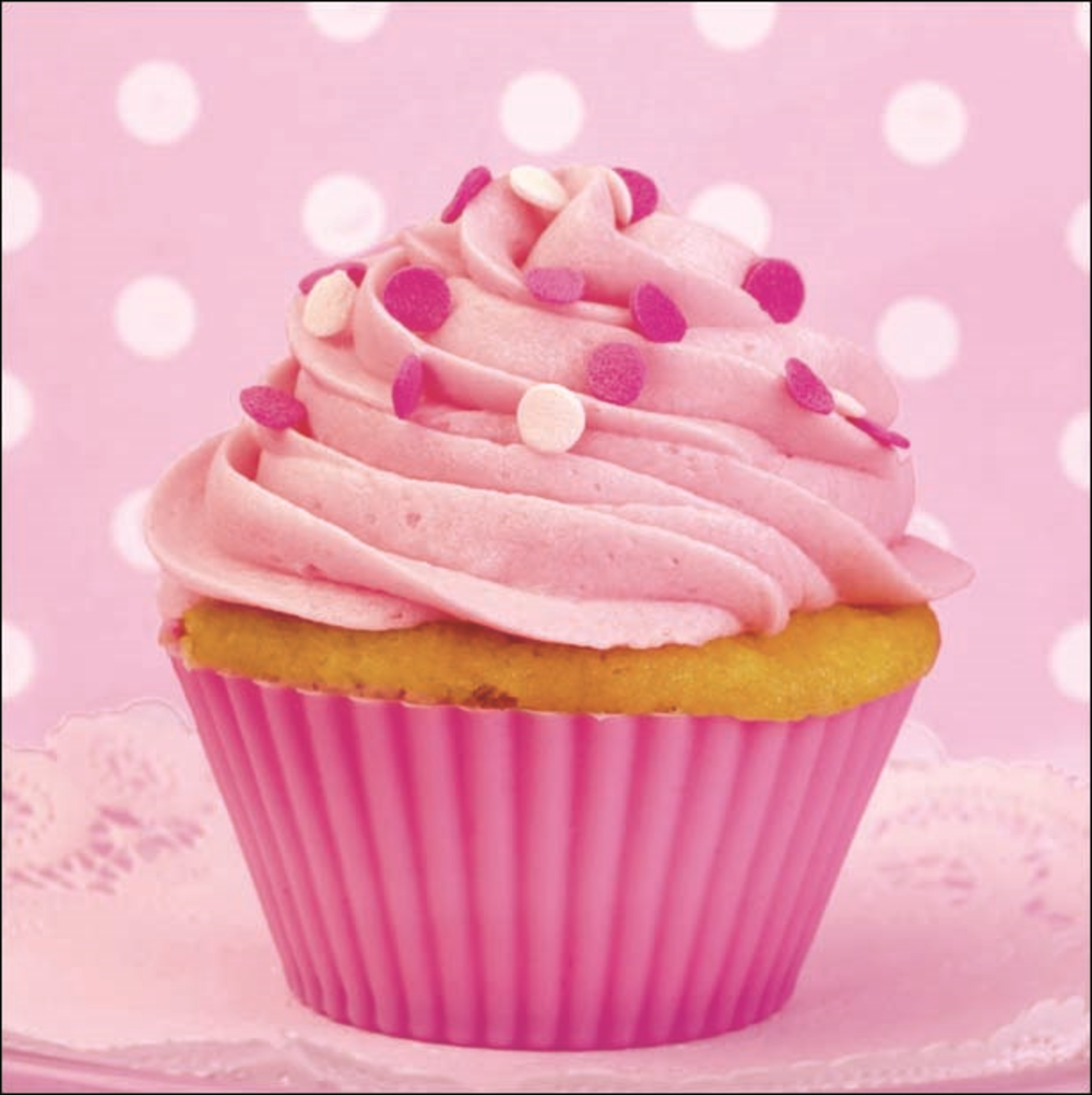 Pink Cupcake Square Photo Greeting Card Blank Inside