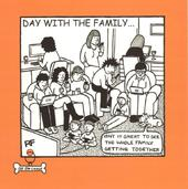 Family Dog Square Cartoon Humour Greeting Card