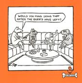 Dog Manners Square Cartoon Humour Greeting Card