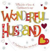 Wonderful Husband Large Christmas Greeting Card