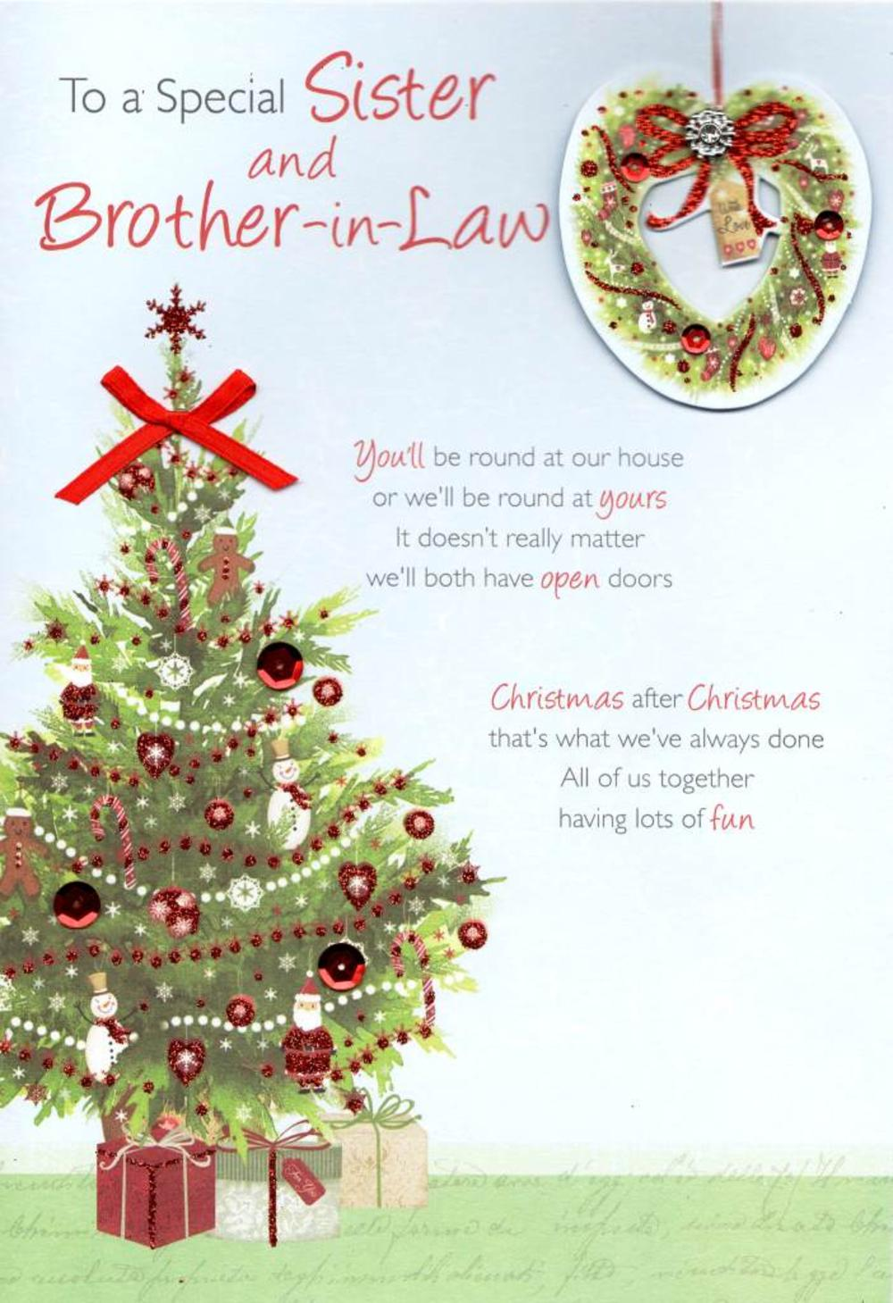 Special Sister Brother In Law Christmas Greeting Card Cards