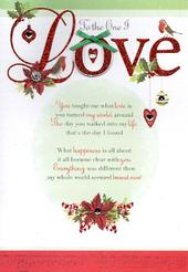 To The One I Love Christmas Greeting Card