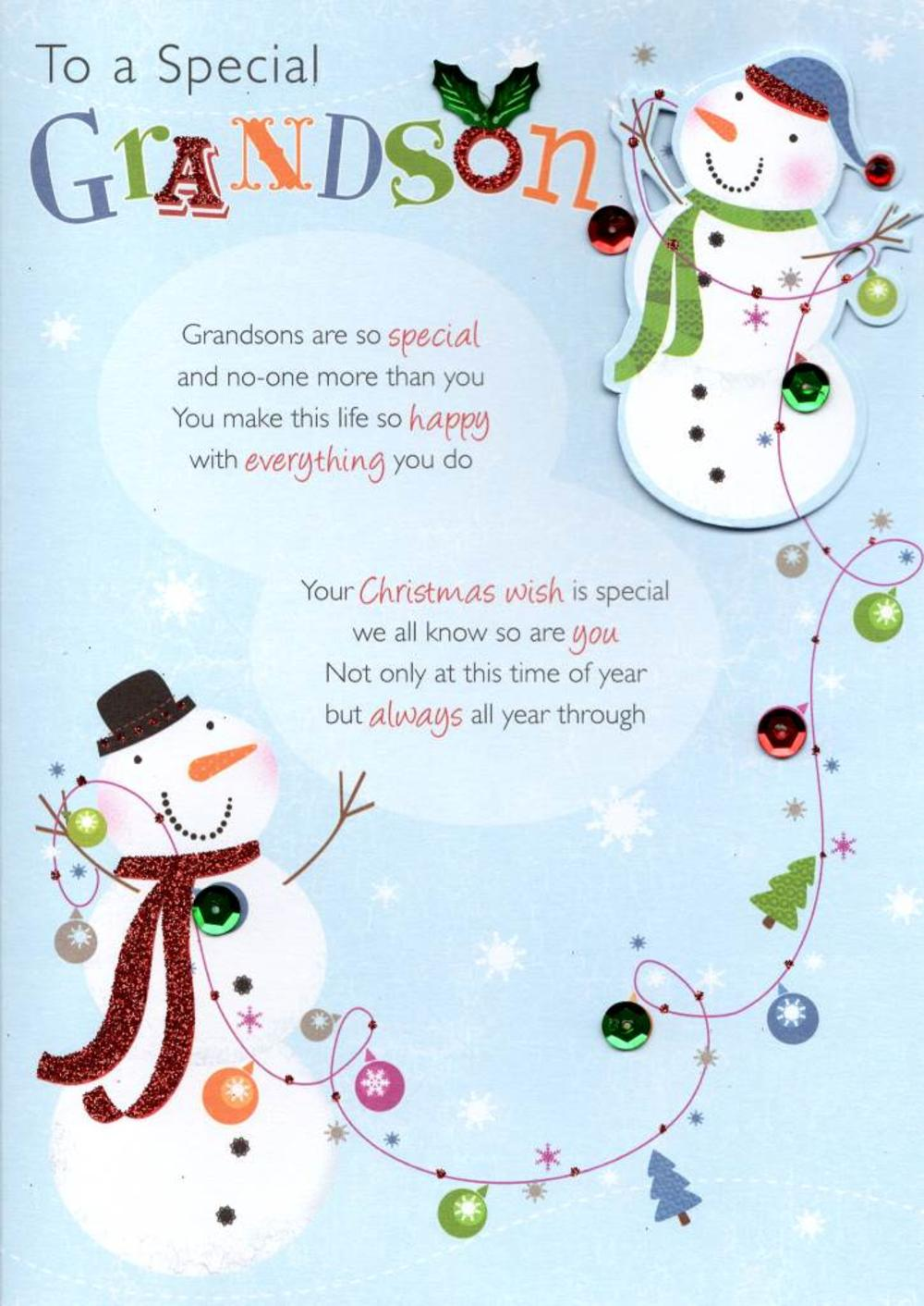 to a special grandson christmas greeting card cards