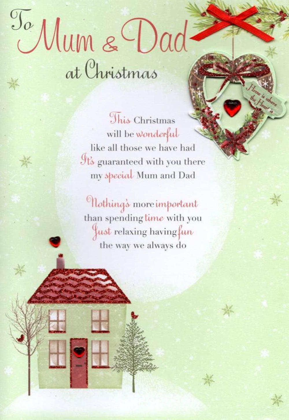 To Mum & Dad At Christmas Greeting Card