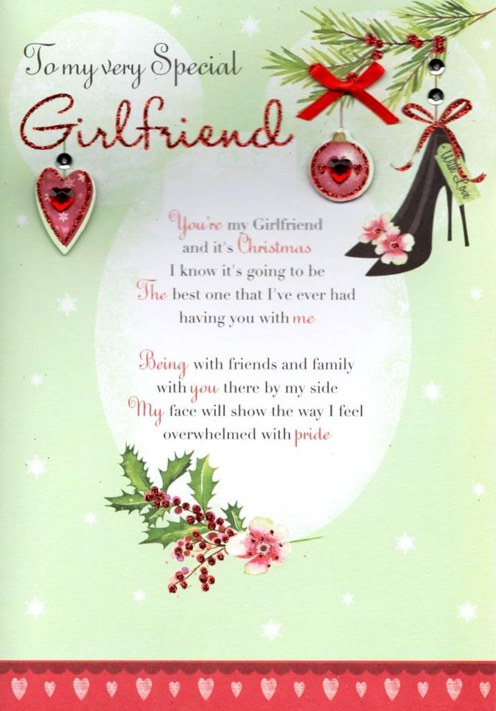 to my very special girlfriend christmas greeting card cards love