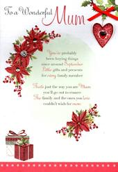 To A Wonderful Mum Christmas Greeting Card