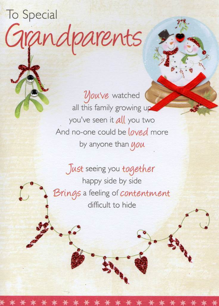 to special grandparents christmas greeting card - Christmas Verses For Cards
