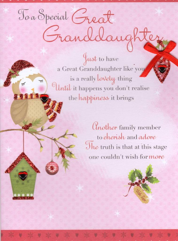 Great Granddaughter Christmas Greeting Card Traditional Cards ...