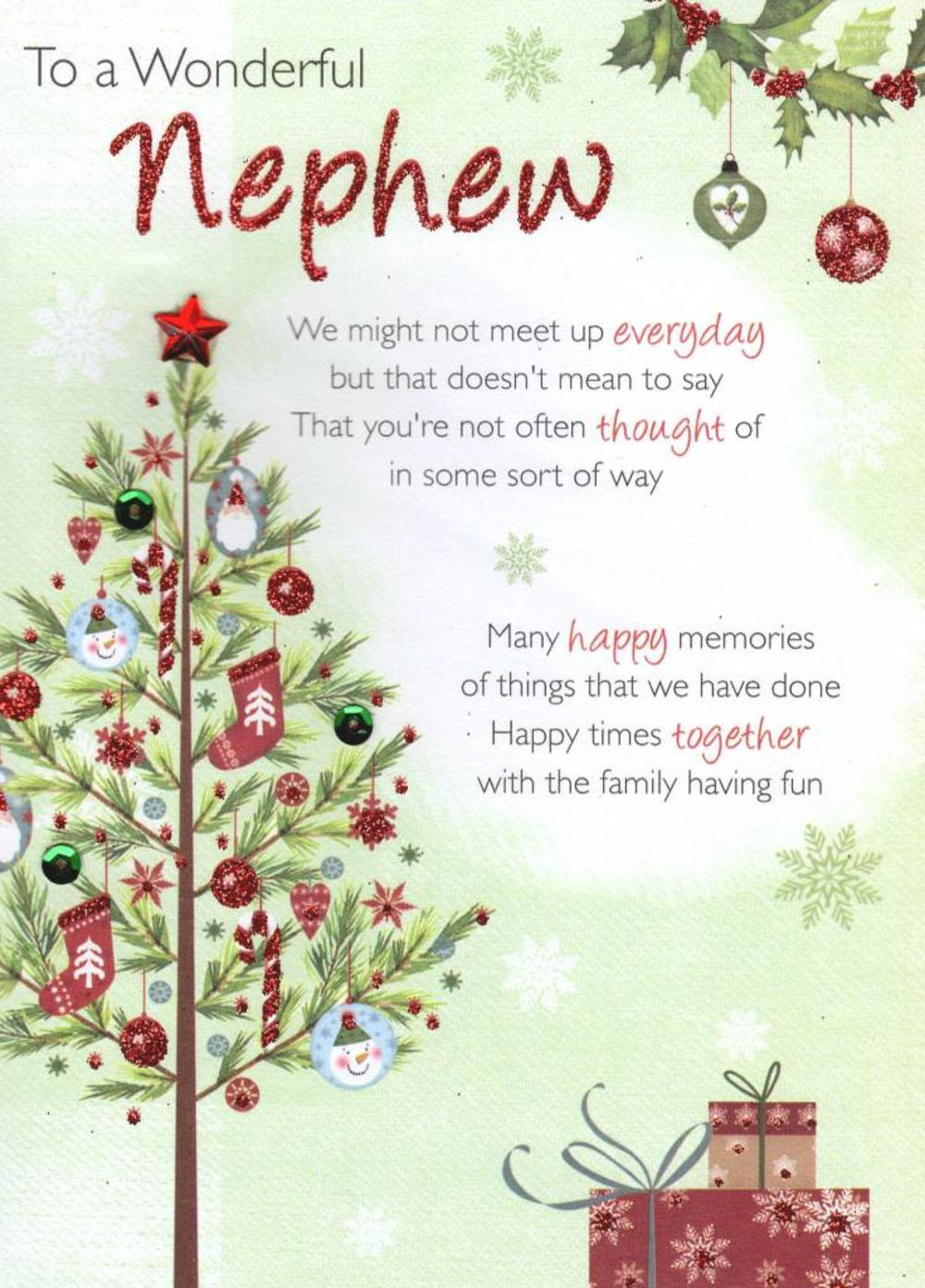 To A Wonderful Nephew Christmas Greeting Card Cards Love Kates
