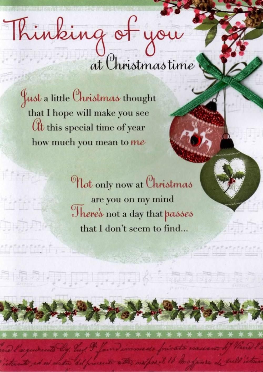 Thinking Of You At Christmas Time Greeting Card