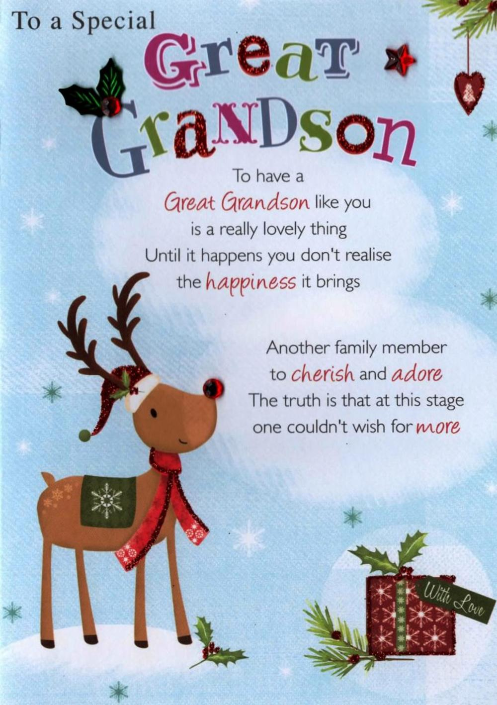 Special Great Grandson Christmas Greeting Card Cards