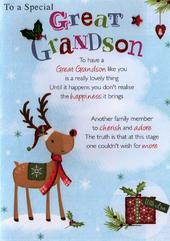 Special Great Grandson Christmas Greeting Card