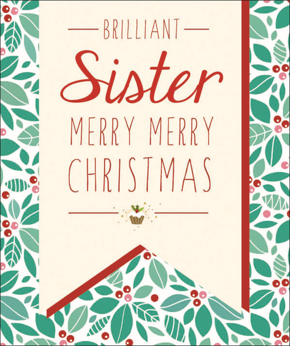 Brilliant Sister Contemporary Christmas Card