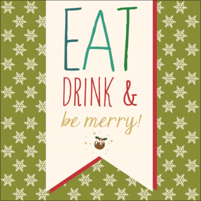 Eat Drink & Be Merry Contemporary Christmas Card