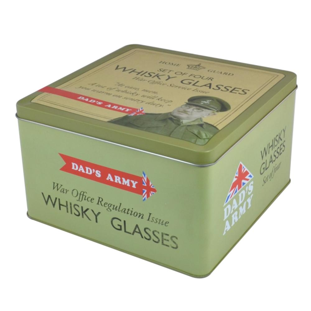 Official Dad's Army Set of 4 Whisky Glasses in a Tin