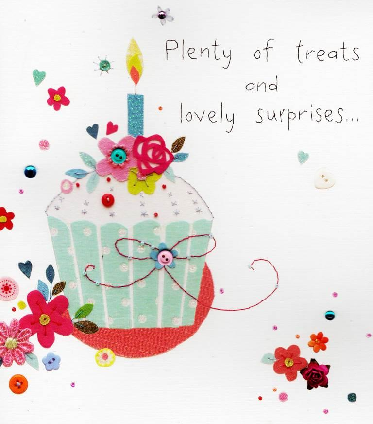 Treats & Lovely Surprises Pretty Birthday Greeting Card
