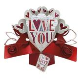 Love You Pop-Up Valentines Greeting Card
