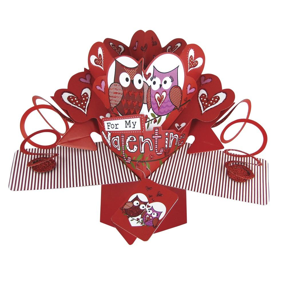 For My Valentine Cute Owls Pop-Up Greeting Card