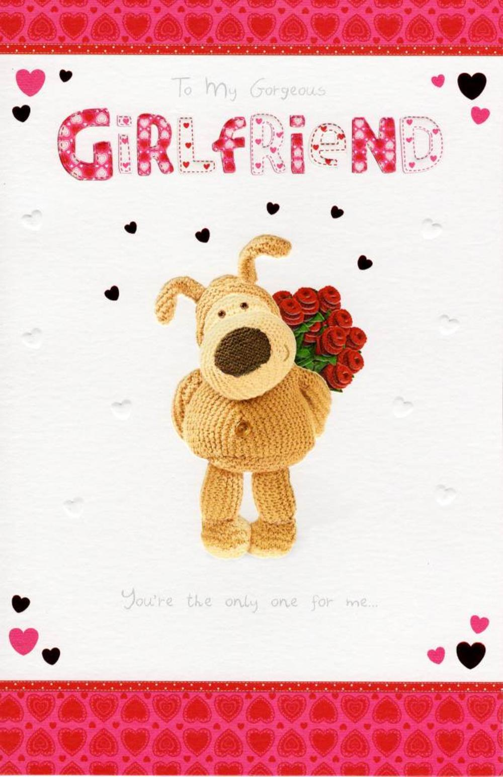 Gorgeous Girlfriend Cute Boofle Valentines Day Card – Valentines Card for Girlfriend