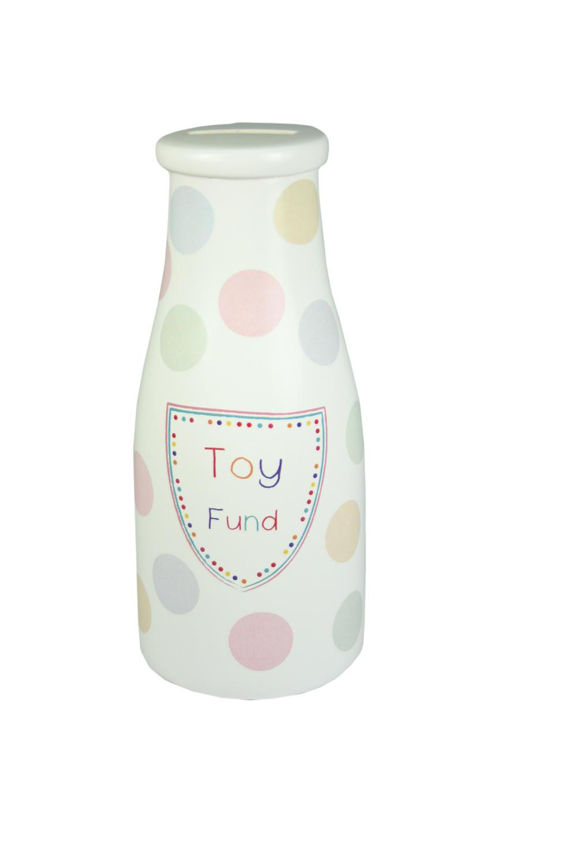 Pocket Pennies Toy Fund Savings Bottle Shaped Money Pot