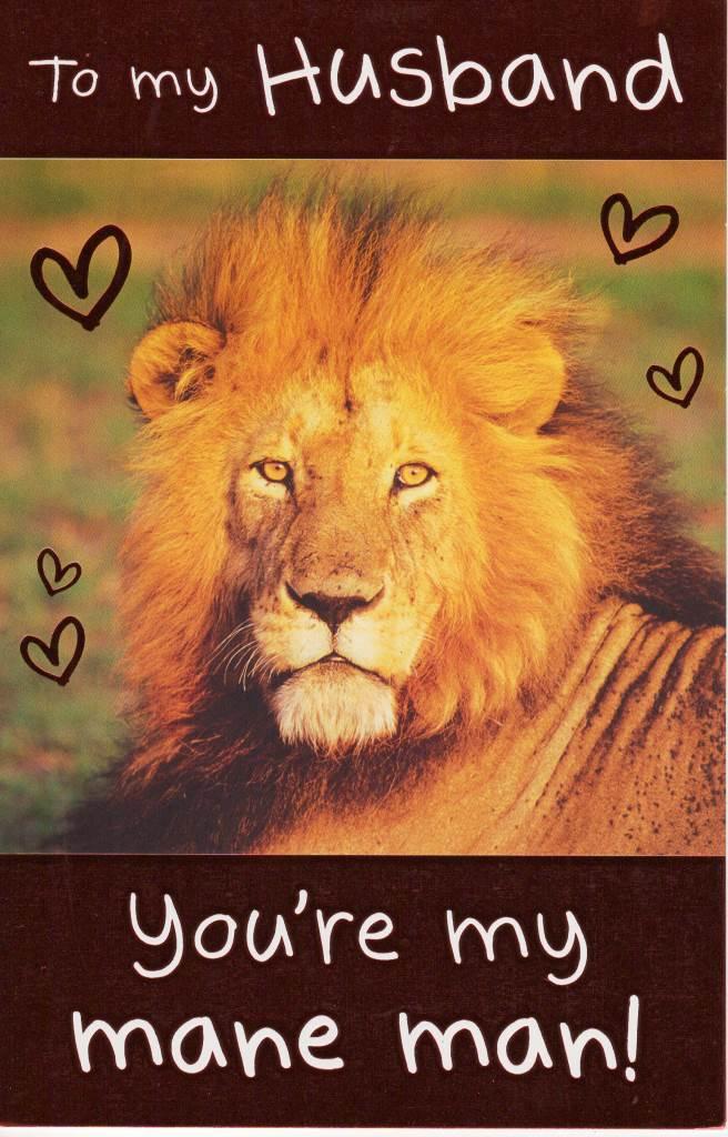 To My Husband My Mane Man Lion Valentine S Day Card Cards