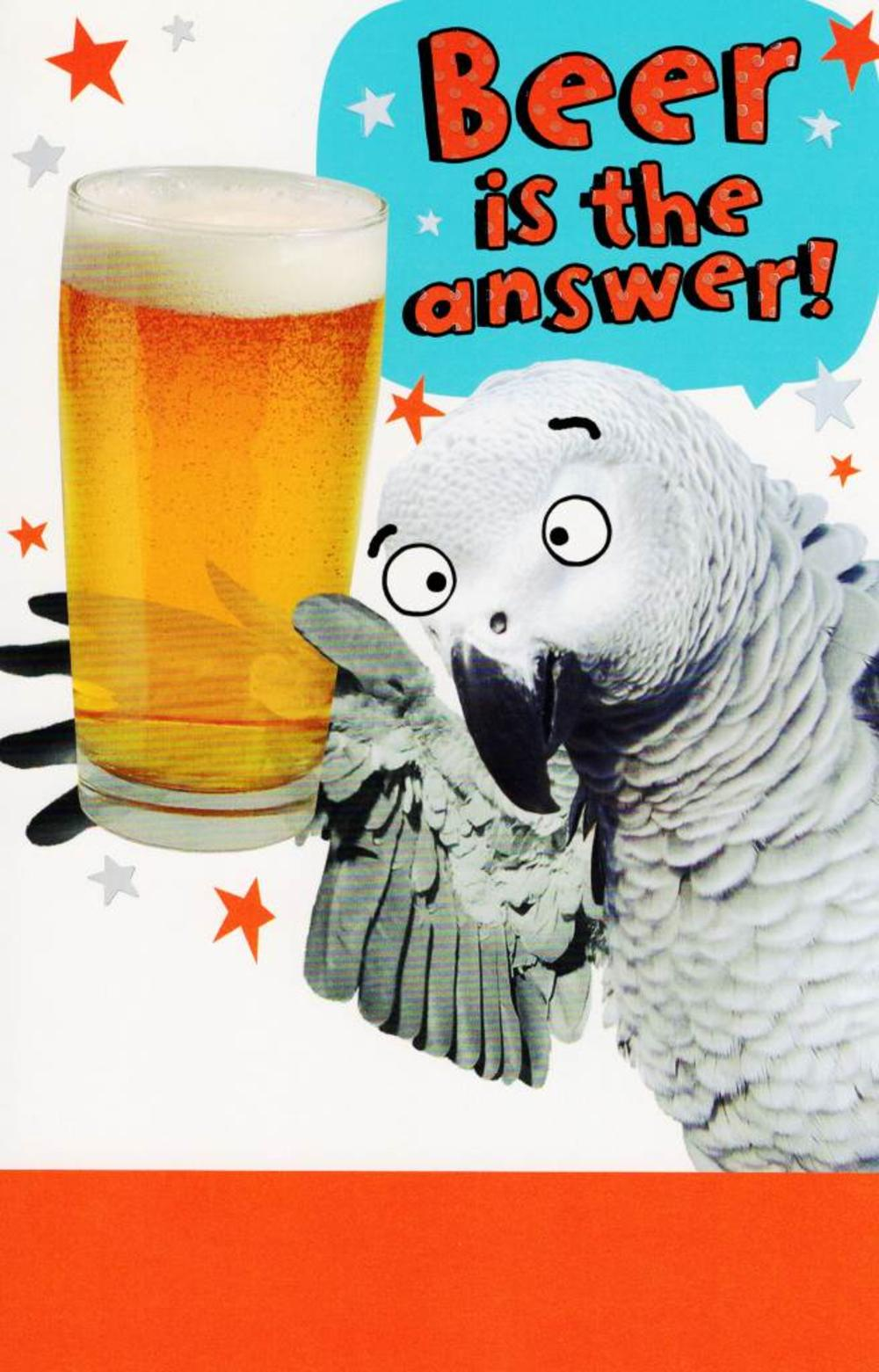 Funny Beer Is The Answer Birthday Card