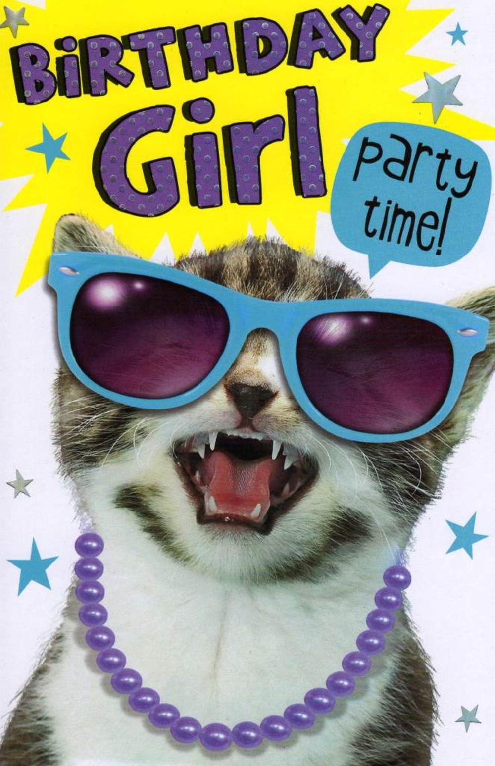 Funny Birthday Girl Party Time Birthday Card Cards