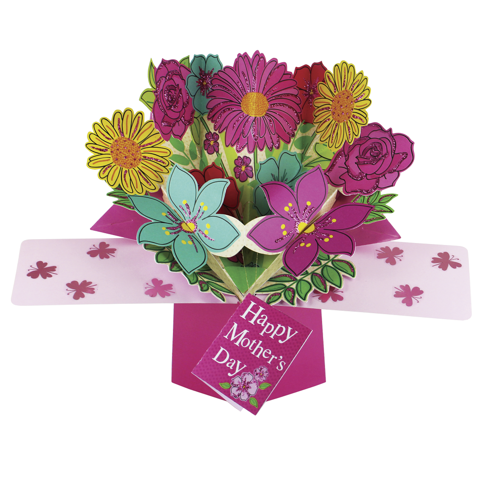 Happy Mothers Day Bunch Flower Pop Up Greeting Card Cards Love
