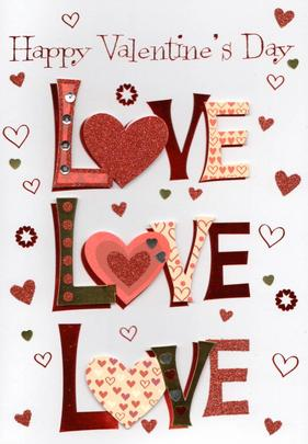 Love Love Love Happy Valentine's Day Greeting Card